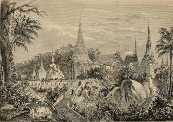 วัดพระพุทธบาทในสมัยรัชกาลที่ 4 วาดโดยอ็องรี มูโอ